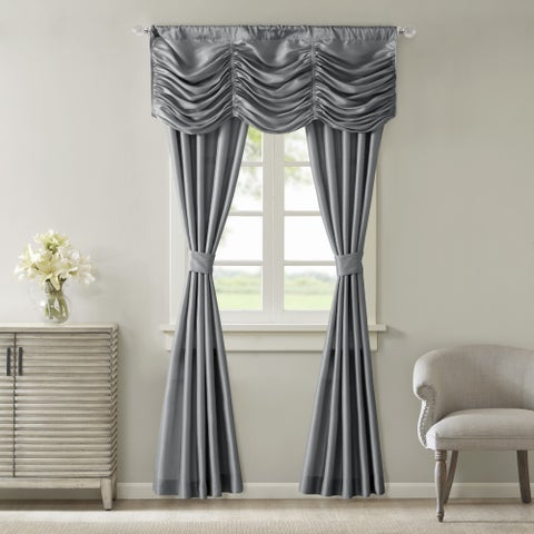 Madison Park Giselle Solid Faux Silk 5-piece Curtain Panel Set
