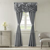 Madison Park Giselle Solid Faux Silk 5-piece Curtain Panel Set