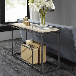 Madison Park Koko Cream Marble Console Table with Gunmetal Metal Base