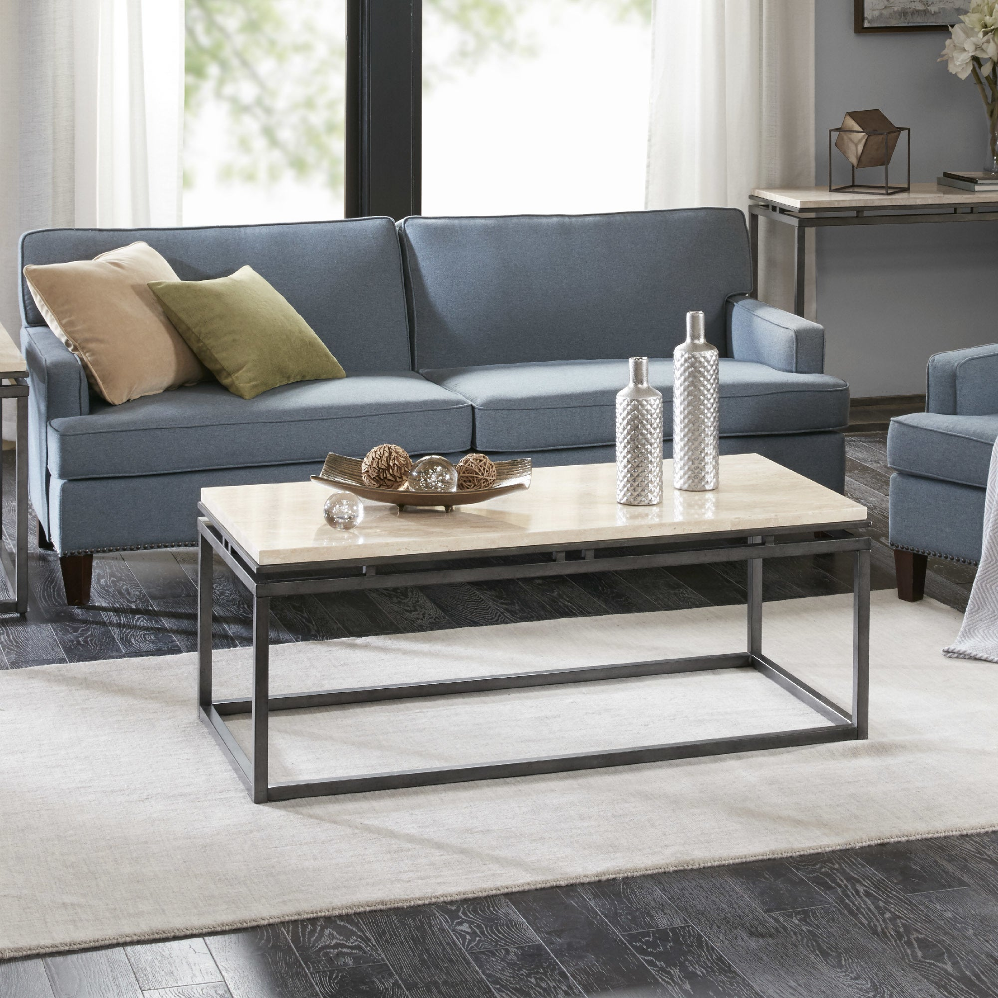 Genial Shop Madison Park Koko Cream Metal And Marble Rectangular Coffee Table    Free Shipping Today   Overstock   18965888