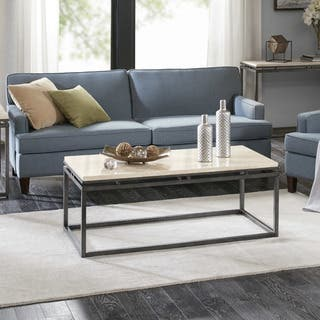 Madison Park Koko Cream Metal And Marble Rectangular Coffee Table