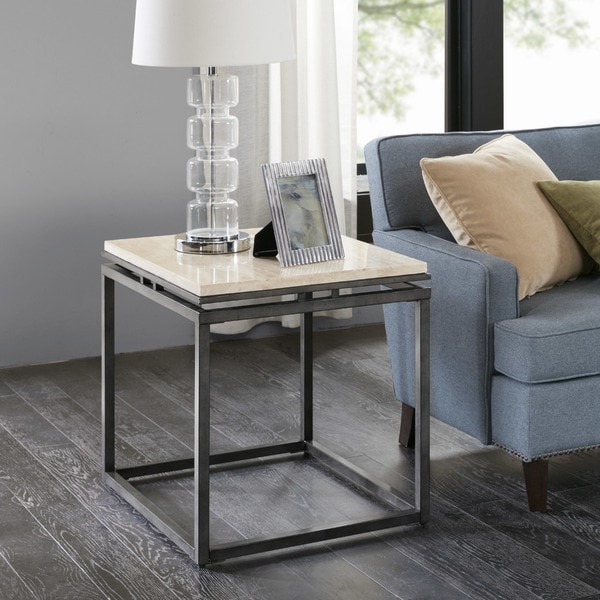 Bon Madison Park Koko Cream Marble And Metal End Table