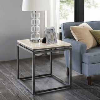Madison Park Koko Cream Marble and Metal End Table