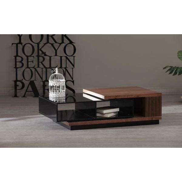 Zoom Contemporary Black Lacquer and Walnut Veneer Coffee Table