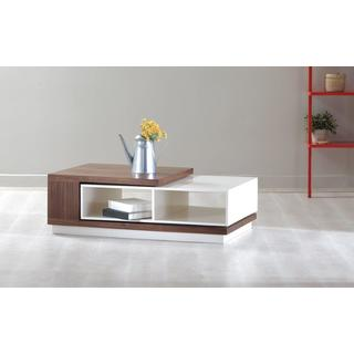 Zoom Contemporary White Lacquer and Walnut Veneer Coffee Table