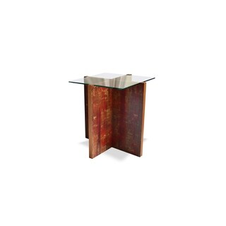 Finn Solid Wood and Glass Side Table