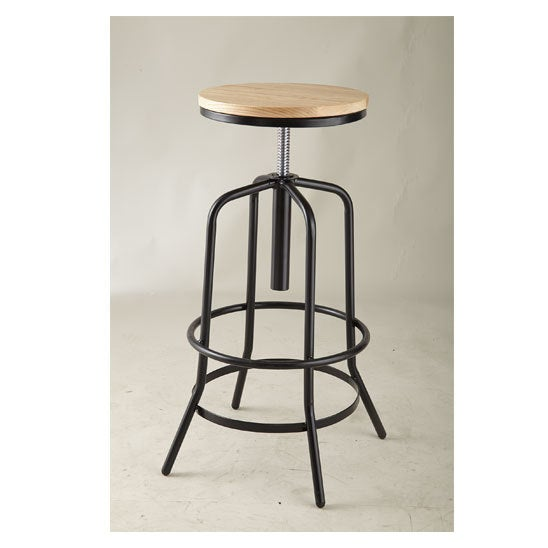 Shop Adjustable 26 Inch Natural Wood Seat Bar Stool Free Shipping