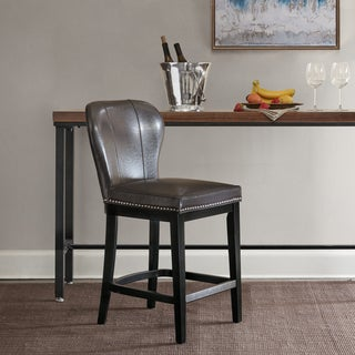 Madison Park Sheldon Faux Leather and Wood Counter Stool