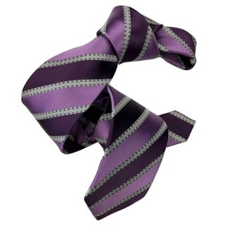DMITRY Purple Striped Italian Silk Tie