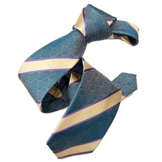 DMITRY Blue with Ivory/Purple Stripes Italian Silk Tie