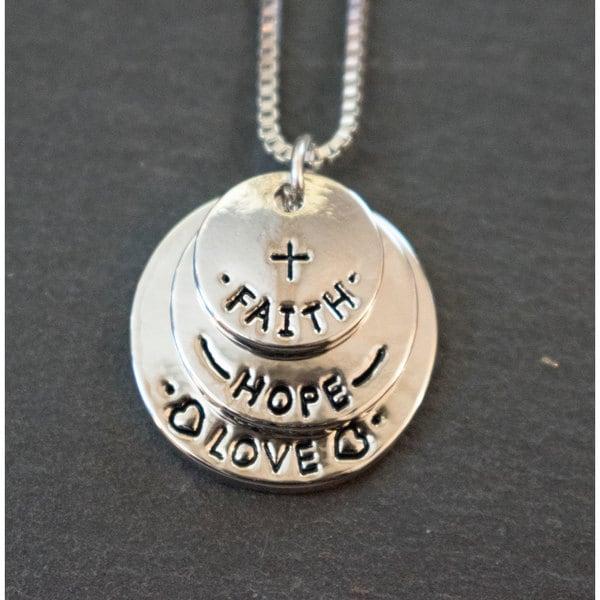 Mint jules faith hope love tripple tag stamped inspirational mint jules faith hope love tripple tag stamped inspirational pendant aloadofball Gallery