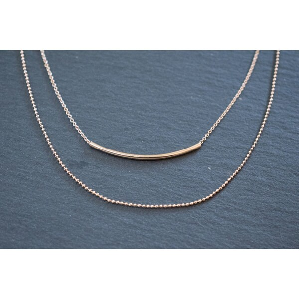 "Mint Jules Dainty Layered Two Chain Tube Necklace 18"" - 20"" Adjustable"