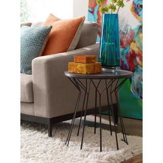 Elle Decor Fleur Black Metal Side Table with Wood Top