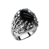 Sterling Silver Skeletal Black Onyx Ring