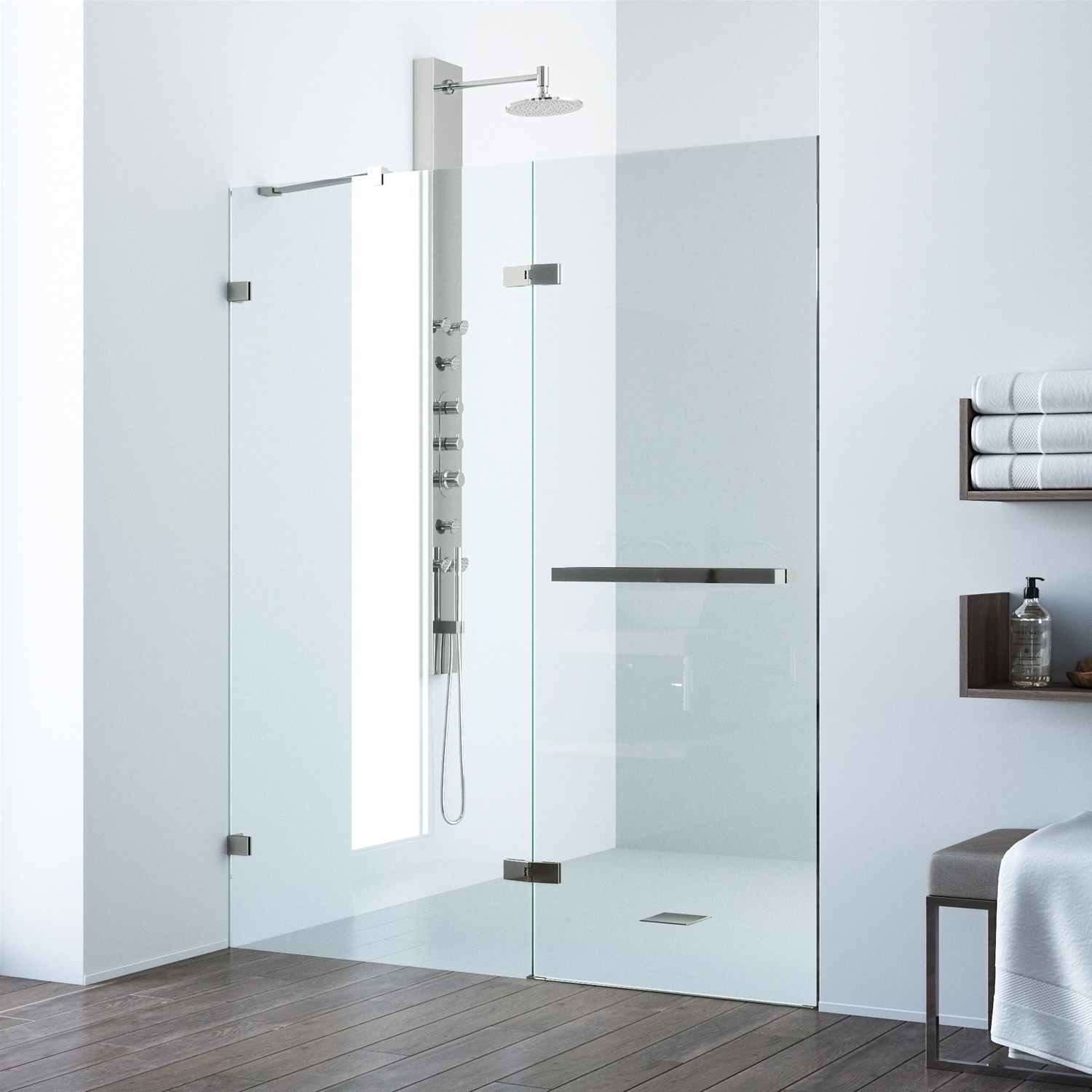 Vigo Nyos Clear Adjustable Frameless Hinged Shower Door