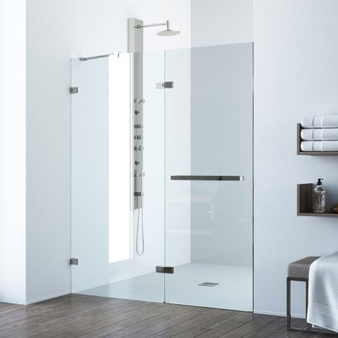VIGO Nyos Clear Adjustable Frameless Hinged Shower Door