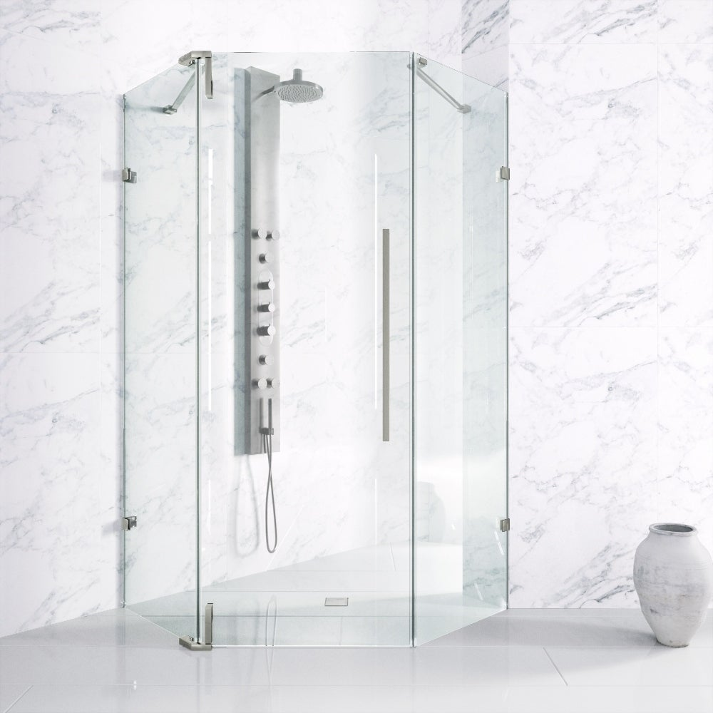 Vigo Ontario Adjustable Frameless Neo-Angle Shower Enclosure (Stainless Steel (Silver) Finish)