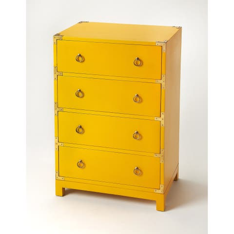 Handmade Butler Ardennes Yellow Campaign Accent Chest