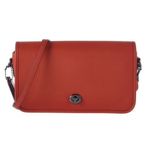 Coach Turnlock Dark Terracotta Leather Crossbody Handbag