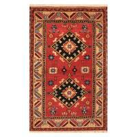 Handmade Herat Oriental Indo Hand-knotted Tribal Kazak Wool Rug (3'2 x 5'1) - 3'2 x 5'1