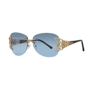 Caviar Rimless Swarovski Crystals 6854 C55 Womens Gold Frame Blue Lens Sunglasses