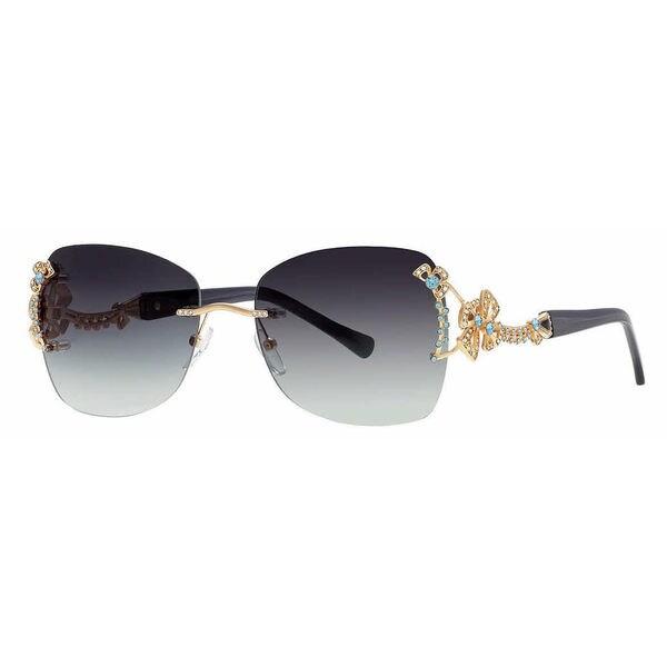 3dd84ab42493 Caviar Rimless Swarovski Crystals 6855 C55 Womens Black Frame Grey Lens  Sunglasses