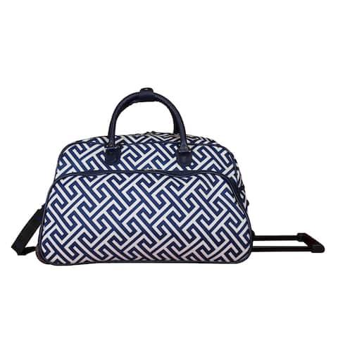 World Traveler Greek Key 21-Inch Carry-On Rolling Duffel Bag