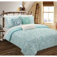 Nouvelle Home Painterly Paisley White Cotton Reversible Comforter Set