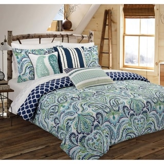 Nouvelle Home Painterly Paisley Blue Cotton Reversible Comforter Set