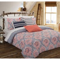 Nouvelle Home Floral Block Cotton Reversible Comforter Set