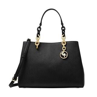 Michael Kors Cynthia Medium Leather Black Satchel Handbag