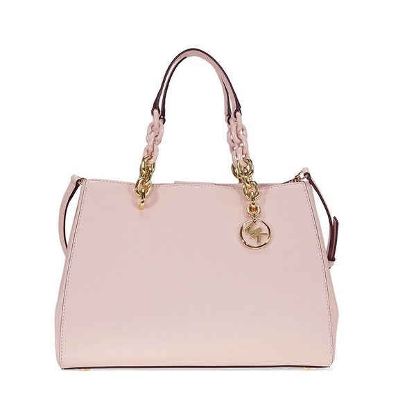 Michael Kors Cynthia Medium Leather Soft Pink Satchel Handbag