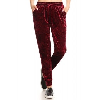JED Women's Ice Velvet Drawstring Waist Casual Jogger Pants