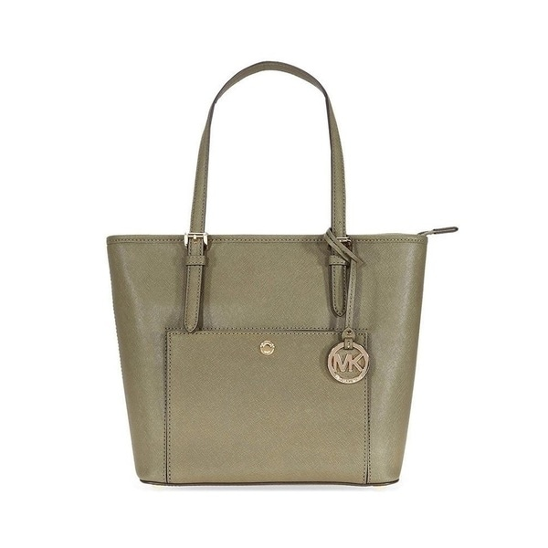 f88c5fbfb0dd Shop Michael Kors Jet Set Saffiano Leather Top-zip Olive Tote Bag ...