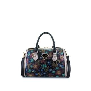 LANY 'Laila' Black Handpainted Flowers Satchel Handbag