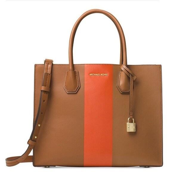 e6ec2a9fa909e Shop Michael Kors Mercer Center Stripe Large Acorn Orange Tote Bag - On Sale  - Free Shipping Today - Overstock - 18967798