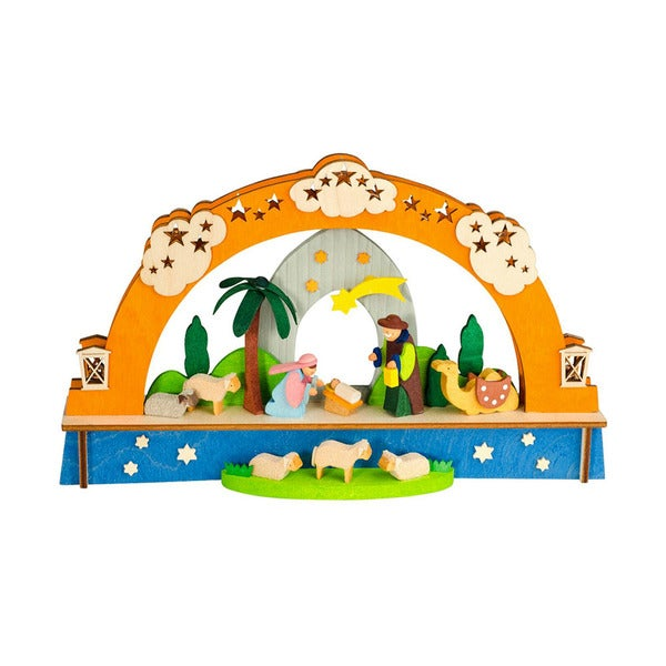 """Alexander Taron Graupner Ornament - Christmas Arch with Nativity Scene and LED Lighting - 5.5""""H x 9""""W x 1.5""""D"""