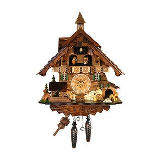 Alexander Taron Engstler Brown Wood 13.5-inch High x 14-inch Wide x 9-inch Deep Full-size Battery-operated Cuckoo Clock
