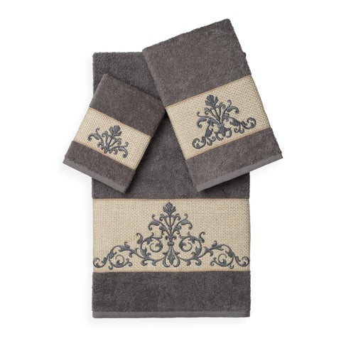 Authentic Hotel and Spa Turkish Cotton Scrollwork Embroidered 3 piece Towel Set