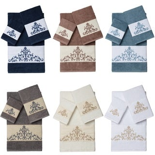 Link to Authentic Hotel and Spa Turkish Cotton Scrollwork Embroidered 3 piece Towel Set Similar Items in Towels
