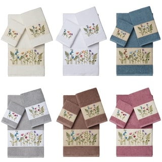 Authentic Hotel and Spa Turkish Cotton Wildflowers Embroidered 3 piece Towel Set