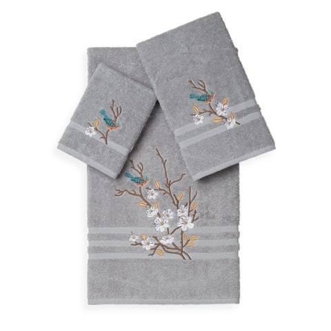 Authentic Hotel and Spa Turkish Cotton Blue Bird Embroidered 3 piece Towel Set