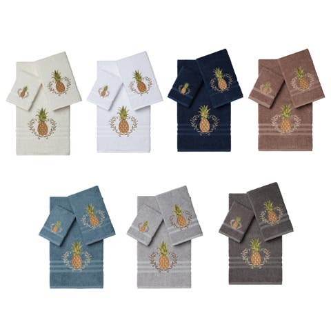 Authentic Hotel and Spa Turkish Cotton Pineapple Embroidered 3 piece Towel Set