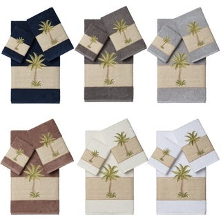 Authentic Hotel and Spa Turkish Cotton Palm Tree Embroidered 3 piece Towel Set