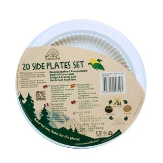 "EcoSouLife Cornstarch - Side Plate 7"", Natural, 20 CT"