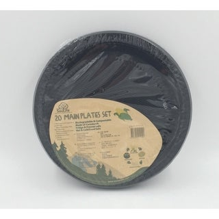 "EcoSouLife Cornstarch - Main Plate 20PC 9"", Black"