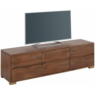 Scandinavian Living Surf Distressed Brushed Acacia Wood Lowboard with 3 Doors