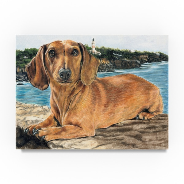 Shop Barbara Keith Dachshund In The Bay Canvas Art On