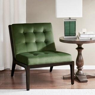 Madison Park Eagan Green/Brown Fabric/Birchwood Accent Chair