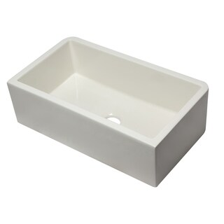 Alfi Brand Biscuit Fireclay 33-inch Biscuit Single-bowl Farm Sink With Smooth Apron